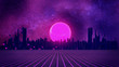 canvas print picture - RETRO CITY SKYLINE: Neon glowing sun and starry sky | Synthwave / Retrowave / Vaporwave Background | 3D Illustration