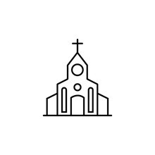 Church, Protest, Crucifix Line Icon. Elements Of Protests Illustration Icons. Signs, Symbols Can Be Used For Web, Logo, Mobile App, UI, UX