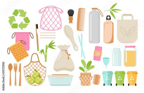 Cuadros en Lienzo Zero waste and eco friendly items flat vector illustrations set