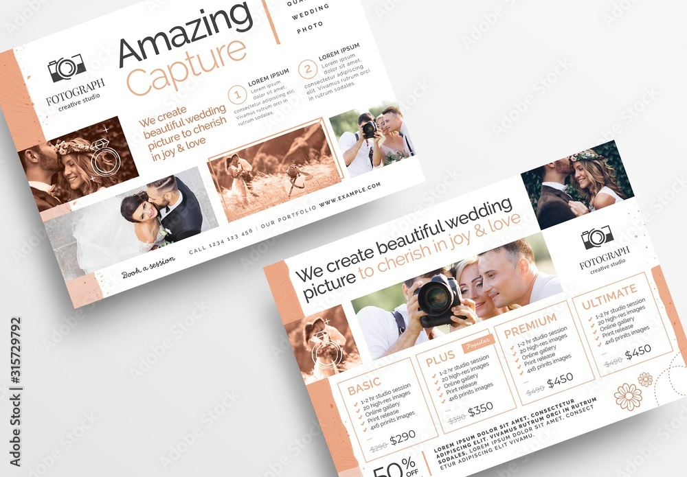 Fototapeta Flyer Layout with Peach Accents