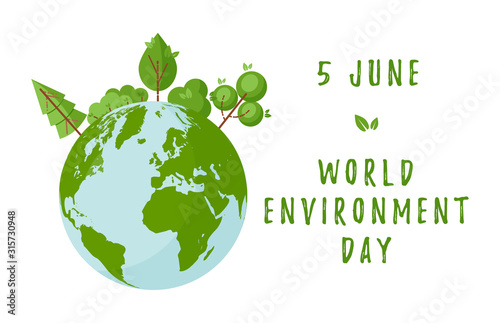 World environment day concept with green trees and planet Earth. Design for web banners, posters, cards etc in flat style. Vector illustration