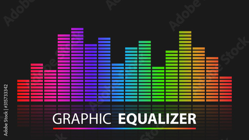 Colorful graphic equalizer abstract background, vector illustration Wallpaper Mural