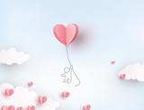 Różowy kierowy latanie balon z mężczyzna na niebieskiego nieba tle. Pocztówka miłości wektor dla projektu Happy Mother's, Valentine's Day lub karty z pozdrowieniami urodzinowymi ..
