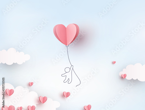 Obraz Pink heart flying balloon with man on blue sky background. Vector love postcard for Happy Mother's, Valentine's Day or birthday greeting card design.. - fototapety do salonu