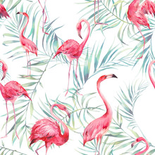Watercolor Flamingo And Palm L...