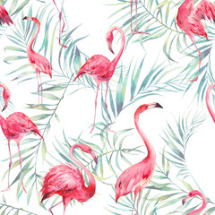 Fototapeta Malarstwo Watercolor flamingo and palm leaves texture. Hand drawn seamless pattern with exotic green branches on white background. Beach wallpaper design