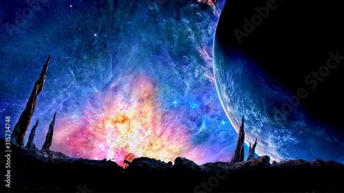 Fototapeta fire in the night sky
