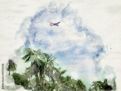 akwarela-obraz-samolotu-pasazerskiego