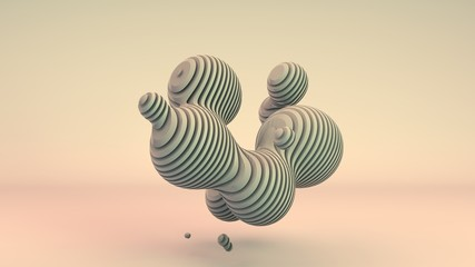 3D rendering of white, unique abstract shapes, spherical flexible shapes separated by flat segments consisting of separate flat elements. Abstract composition for screensavers and desktop.