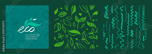 Obraz Organic food background for eco store. Eco-friendly icons set. Natural logo elements. Bio labels. Organic banner template for healthy design. Vector leaves pattern seamless. Agriculture growth logo. - fototapety do salonu