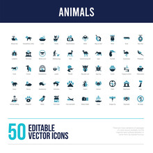 50 Animals Concept Filled Icons