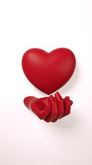 Valentines day hand holding heart background 3d illustration rendering. Dark red color on white flat lay. Love greeting card