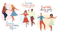 Swind Dance Party Time Concept. Young Couples Are Dancing Swing, Rock And Roll Or Lindy Hop. Flat Style. Vector Illustration