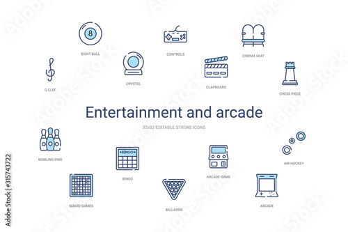 entertainment and arcade concept 14 colorful outline icons Wallpaper Mural