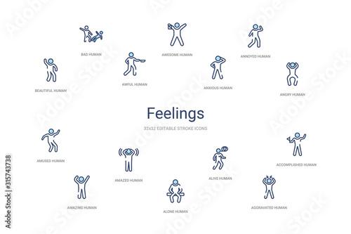 Carta da parati feelings concept 14 colorful outline icons