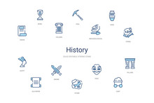 History Concept 14 Colorful Outline Icons. 2 Color Blue Stroke Icons