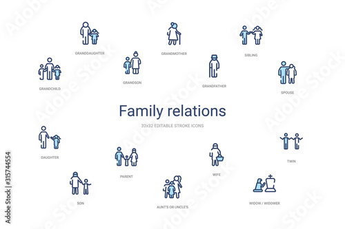 family relations concept 14 colorful outline icons Wallpaper Mural
