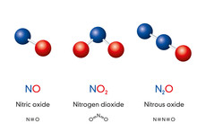 Nitric Oxide NO, Nitrogen Dioxide NO2 And Nitrous Oxide N2O, Laughing Gas, Molecule Models And Chemical Formulas. Ball-and-stick Models, Geometric Structures, Structural Formulas. Illustration. Vector