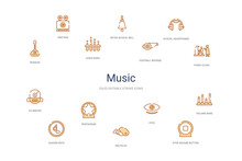 Music Concept 14 Colorful Outl...
