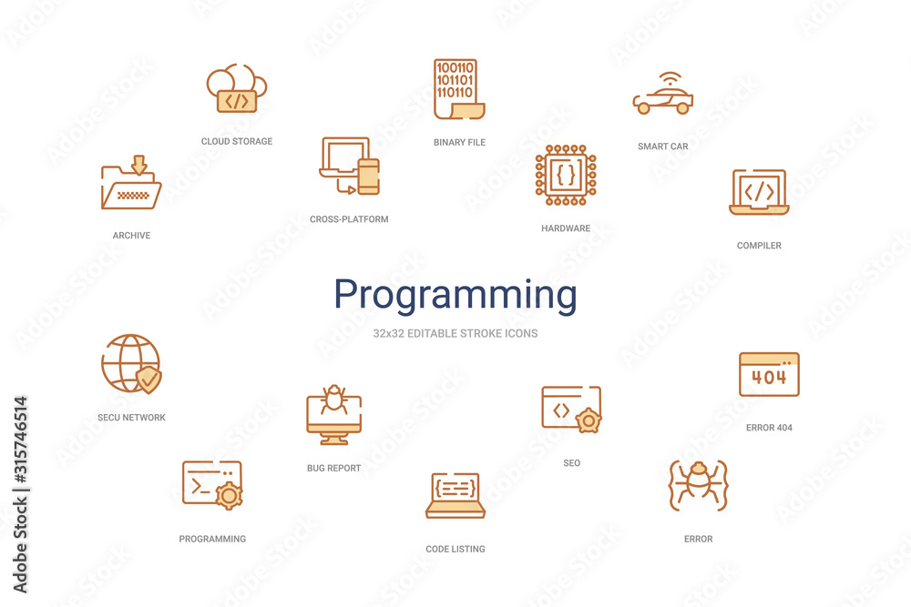 Fototapeta programming concept 14 colorful outline icons. 2 color blue stroke icons