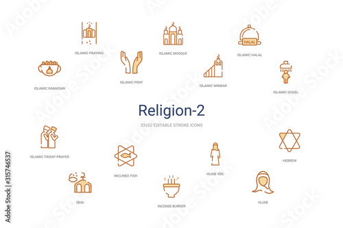 Fotografija religion-2 concept 14 colorful outline icons
