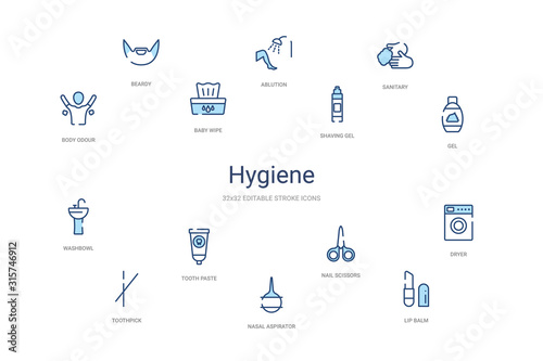 hygiene concept 14 colorful outline icons Wallpaper Mural