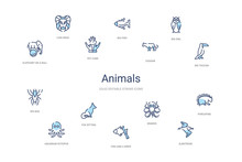 Animals Concept 14 Colorful Outline Icons. 2 Color Blue Stroke Icons