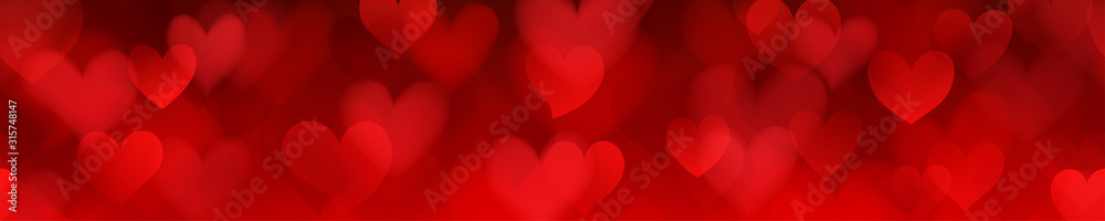 Fototapeta Banner of translucent blurry hearts with seamless horizontal repetition in red colors. Illustration on Valentine's day