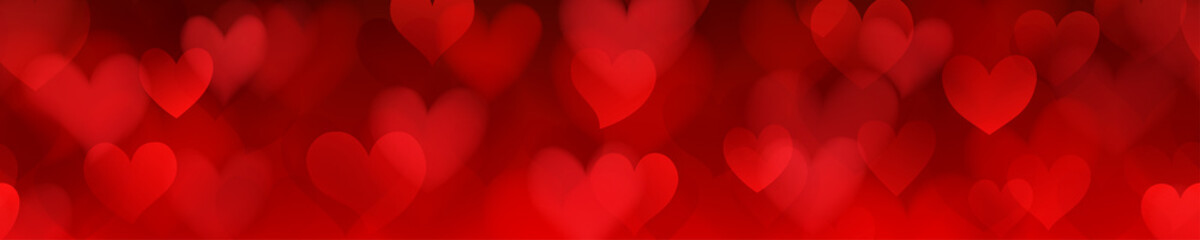 Banner of translucent blurry hearts with seamless horizontal repetition in red colors. Illustration on Valentine's day