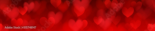 Fotografia Banner of translucent blurry hearts with seamless horizontal repetition in red colors