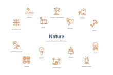 Nature Concept 14 Colorful Outline Icons. 2 Color Blue Stroke Icons