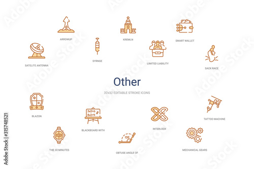 other concept 14 colorful outline icons Canvas Print