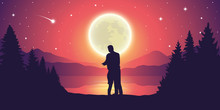 Couple In Love At Beautiful Lake At Night With Full Moon And Starry Sky Mystic Landscape Vector Illustration EPS10