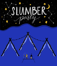 Slumber Party Illustration With Tree Teepee Tents, Night Sky With Hand Drawn Stars And Little Table With Moon And Lantern. Kids Sleepover Vector Invitation Design.