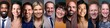Different portraits of people in front of a background