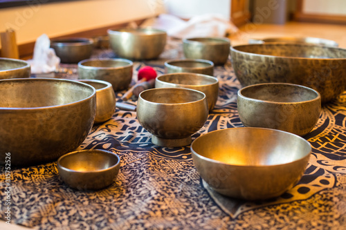 Tibetan singing bowls for wellness and healing Canvas Print