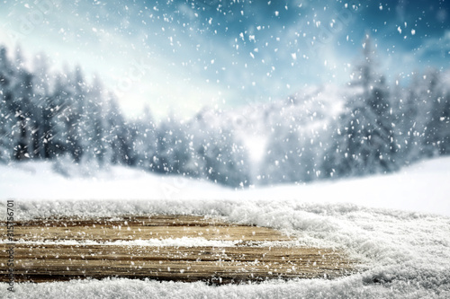 desk of free space and winter window background