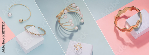 Vászonkép Photo collage of Different golden bracelets on pink and blue background