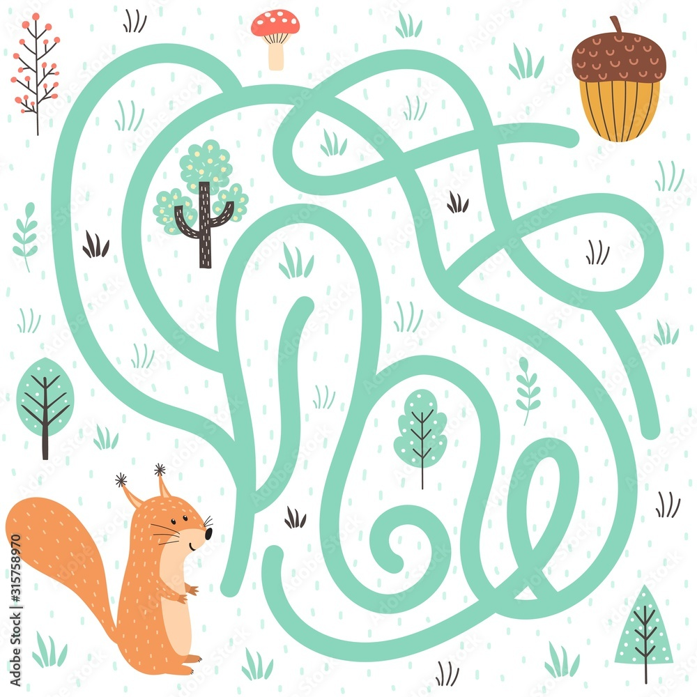 Fototapeta Help the squirrel find the way to the nut. Forest labyrinth for kids
