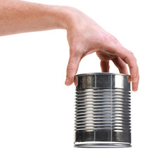 Male Hand Holding Empty Tin Can