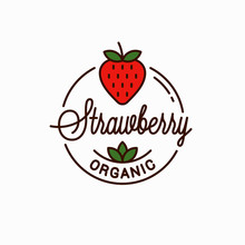 Strawberry Logo. Round Linear Logo Of Organic