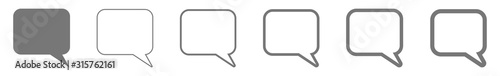 Fotomural Speech Bubble Balloon Icon gray | Blank Rectangle Rounded Bubbles | Communicatio