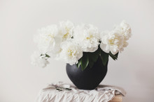 Stylish Peony Bouquet In Black...