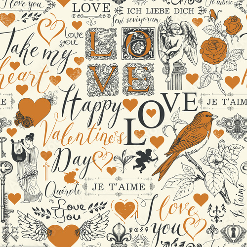 Tapety do pokoju dziewczynki  vector-seamless-pattern-on-the-theme-of-valentines-day-with-red-hearts-angels-flowers-birds-and-inscriptions-abstract-background-with-the-words-i-love-you-in-different-languages-in-retro-style