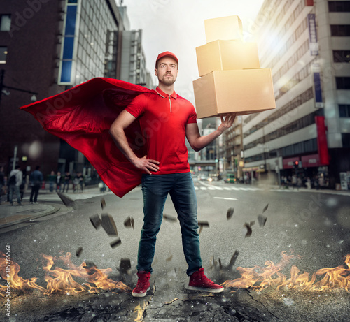 Fotomural Courier acts like a powerful superhero in a city with skyscrapers
