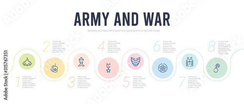 Fotografia army and war concept infographic design template