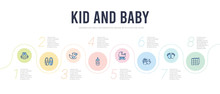 Kid And Baby Concept Infographic Design Template. Included Cubes, Footprints, Stork, Baby Carriage, Feeding Bottle, Rubber Duck Icons