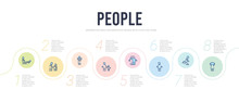 People Concept Infographic Design Template. Included Pulling Hair, Ski Stick Man, Heads, Hugging, Hand Of An Adult, Heart In Hands Icons