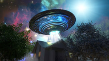Ufo Flying Saucer Over The Hou...