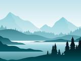 Lasowa mglista krajobrazowa płaska wektorowa ilustracja. Charakter scenerii z jodły i szczyty wzgórz sylwetki na horyzoncie. Halna dolina i rzeka w wczesny poranek sceny kreskówki tle.